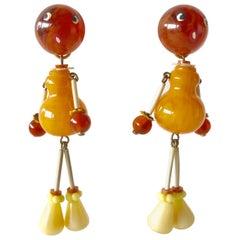 Vintage Mid Century Figurine Bakelite Statement Earrings