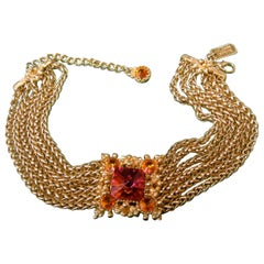 St John Couture Crystal Choker Chain Necklace circa 1990s
