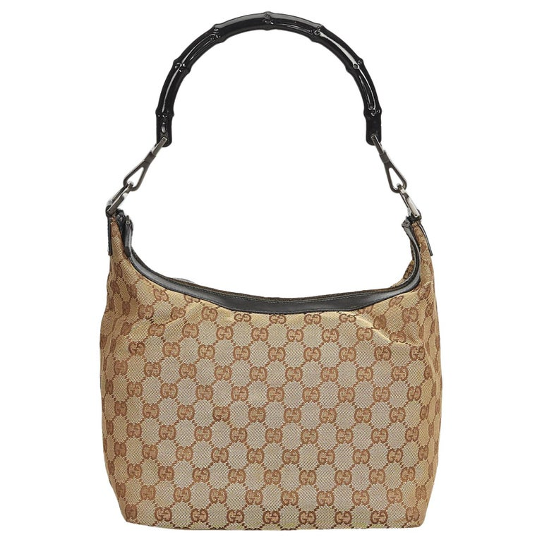 acd1c50ffd7 Gucci Brown x Black Bamboo Jacquard Hobo Bag at 1stdibs