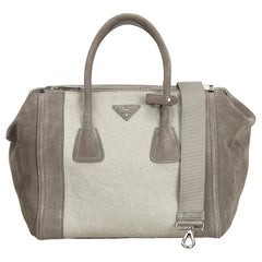 Prada Gray x Light Gray Suede Twin Pocket Bag