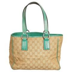 Gucci Brown x Beige x Green Guccissima Jacquard Tote Bag