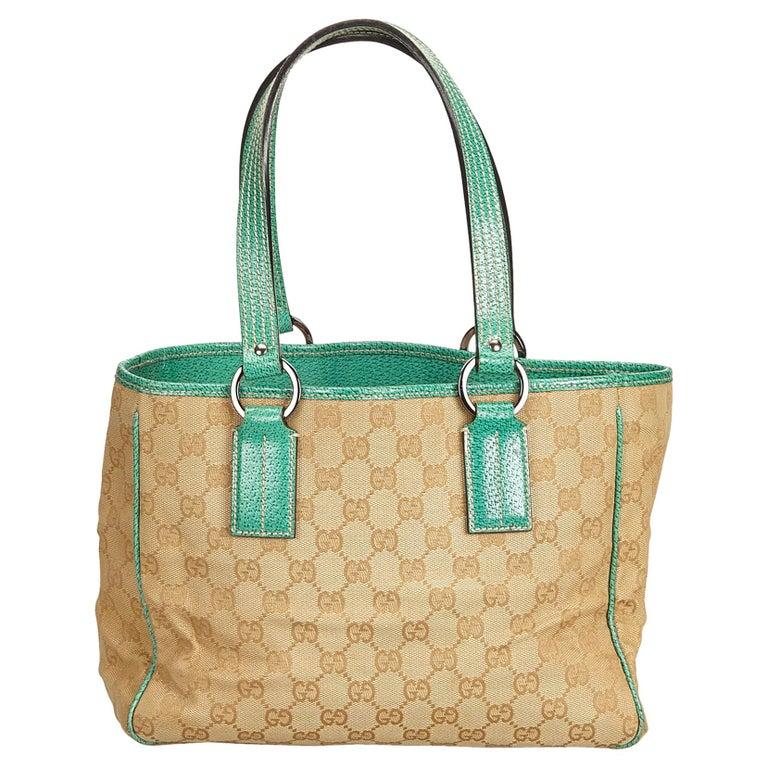 a7b8678f0 Gucci Brown x Beige x Green Guccissima Jacquard Tote Bag at 1stdibs