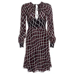 Gucci Black Checked Tie Detail Long Sleeve Silk Dress S