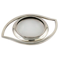 Hermes Cleopatra Eye Silver Toned Desk Magnifying Glass Paperweight