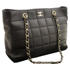 CHANEL Chocolate Bar Large Chain Shoulder Bag Black Quilted Lamb