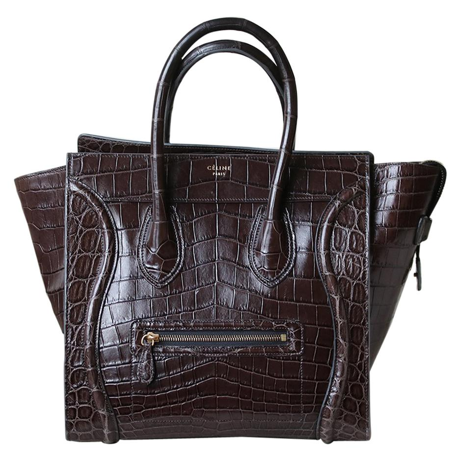 Céline Brown Crocodile Luggage Bag With Gold H/W