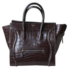 Céline Brown Crocodile Luggage Bag With Gold H/W