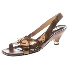 Louis Vuitton Brown Patent Leather Slingback Sandals Size 37.5