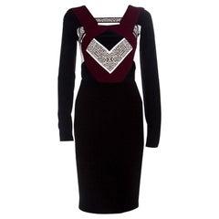 Roland Mouret Colorblock Jacquard Cutout Long Sleeve Shapur Dress S