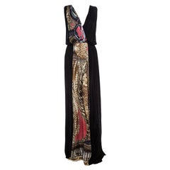 Class by Roberto Cavalli Black Printed Panel Draped Maxi Dress L