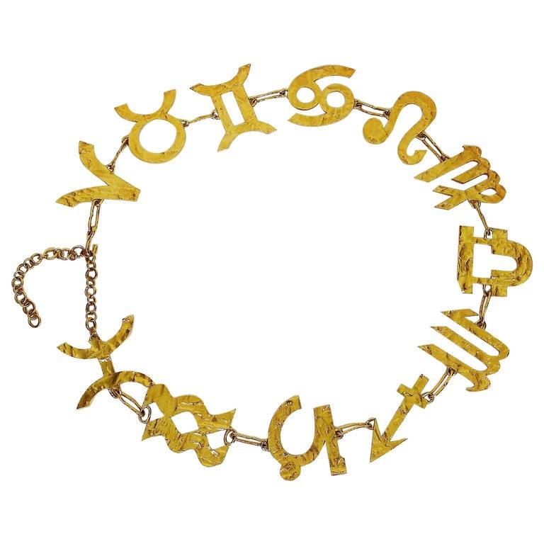 Biche de Bere Vintage Massive Zodiac Hammered Belt Necklace Limited Edition For Sale