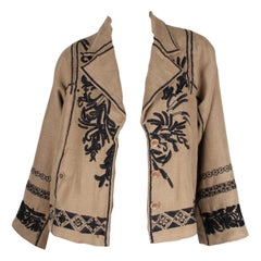 Dries van Noten Embroidered Jacket - taupe/black   Dries van Noten Embroidered