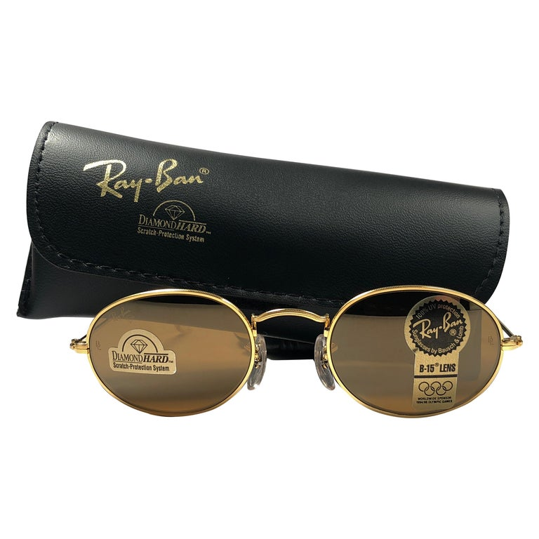 1390eba1a25 New Vintage Ray Ban Oval Gold Diamond Hard Lenses 1980 s B L Sunglasses For  Sale at 1stdibs