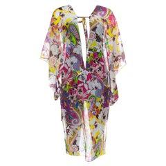 Etro Multicolor Floral Printed Cotton Silk Kaftan Tunic L