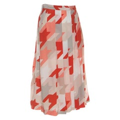 Salvatore Ferragamo Multicolor Houndstooth Pattern Pleated Silk Skirt L