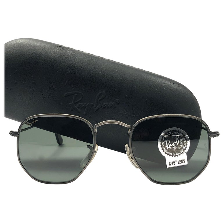 eee4ec2c38f94 New Vintage Ray Ban Gun Metal Hexagonal G15 Grey Lenses B L 1980 s  Sunglasses ...