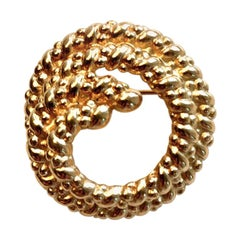 Christian Dior Signed Gold Toned Coiled Rope Textured Brooch, circa 1970s