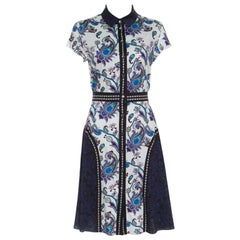 Mary Katrantzou Paisley Printed Cotton Cap Sleeve Dunlop Shirt Dress M