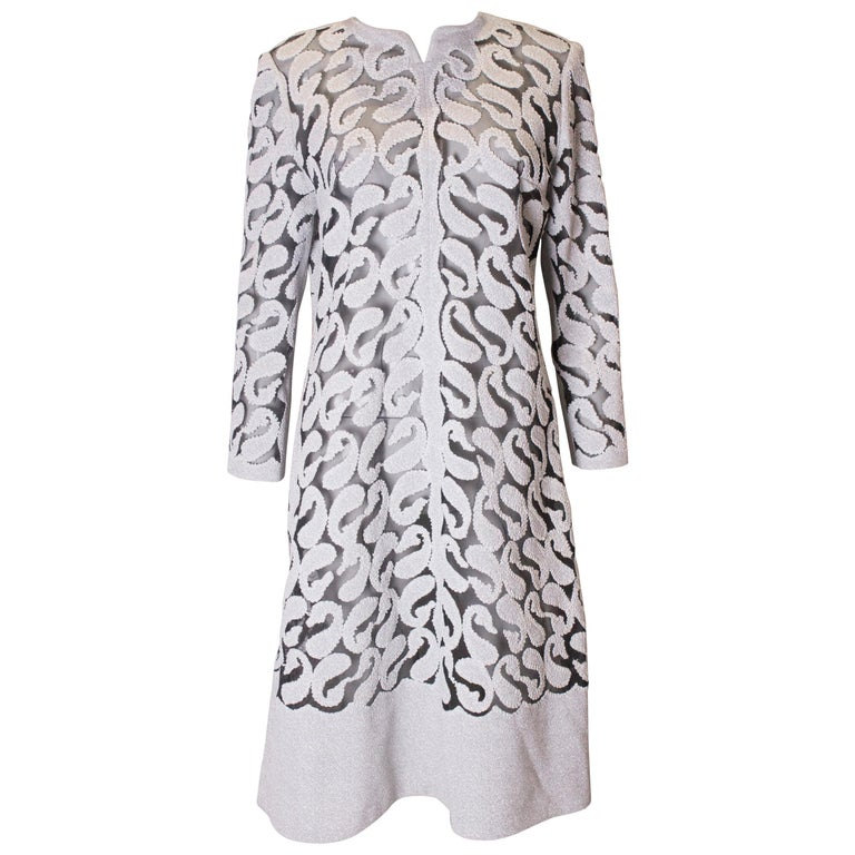 Chic Silver and White Vintage Dress For Sale