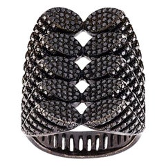 AS29 Spine 18k Black Gold & Diamond Ring