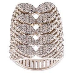 AS29 Spine 18K White Gold and Diamond Ring