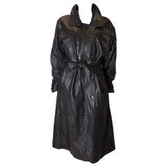 Vintage Soft Leather Black Trench Coat