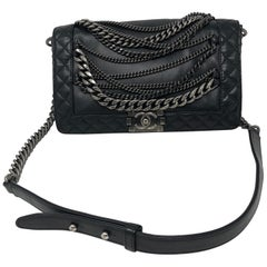 Chanel Black Chains Around Boy Bag