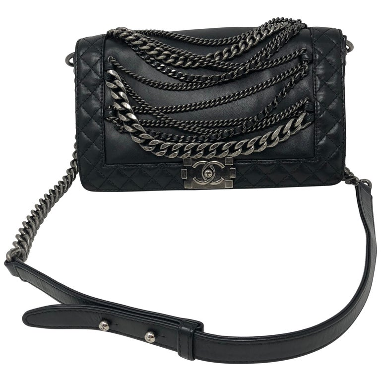 78b3cfa715ac Chanel Black Chains Around Boy Bag 0