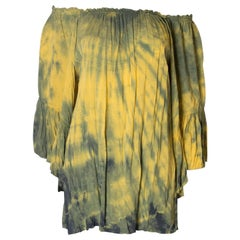 Vintage Boho Tie dye yellow and green top