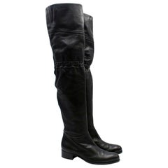 Jimmy Choo Black Leather Thigh High Boots size 39