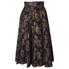 Vintage Black and Gold Skirt with Floral Design