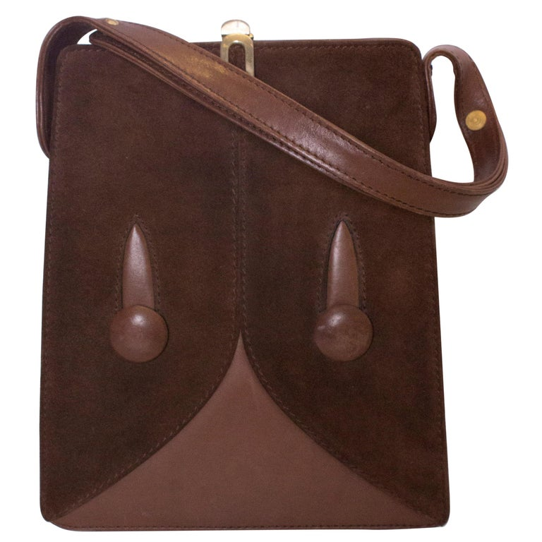 b240264510ea Vintage Brown Suede and Leather Bag For Sale at 1stdibs