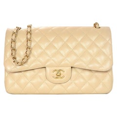 Chanel Beige Clair Caviar Leather Quilted Jumbo Double Flap Classic Bag W/ GHW