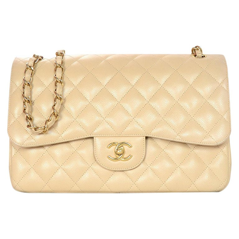 1870a97b0a87c4 Chanel Beige Clair Caviar Leather Quilted Jumbo Double Flap Classic Bag W/  GHW For Sale