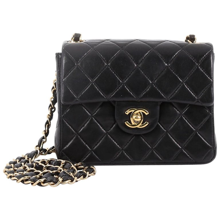 5fccf9c8a483 Chanel Vintage Square Classic Single Flap Bag Quilted Lambskin Mini For Sale