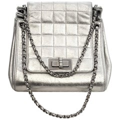 Chanel Mademoiselle Silver Metallic Square Quilt Chain Link Strap Mini Bag