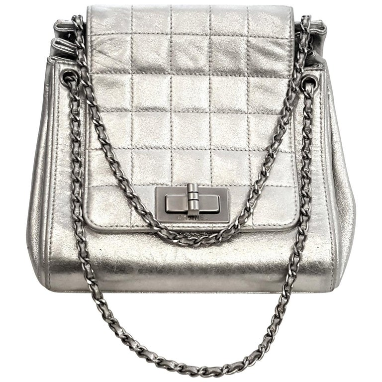 2d5f4d42c63f Chanel Mademoiselle Silver Metallic Square Quilt Chain Link Strap Mini Bag  For Sale