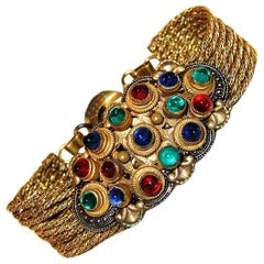 Circa 1930 Czech Jewel Toned Glass Cabochon Multi Chain Bracelet