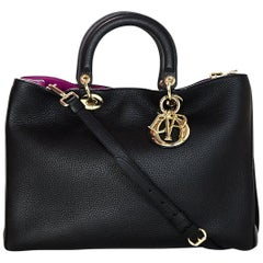 Dior Black/Rose Leather Indien Bullcalf Leather Large Diorissimo Tote Bag