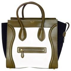 Celine Tri-Color Ivory/Brown/Navy Calfskin Leather/Nubuck Suede Mini Luggage Bag