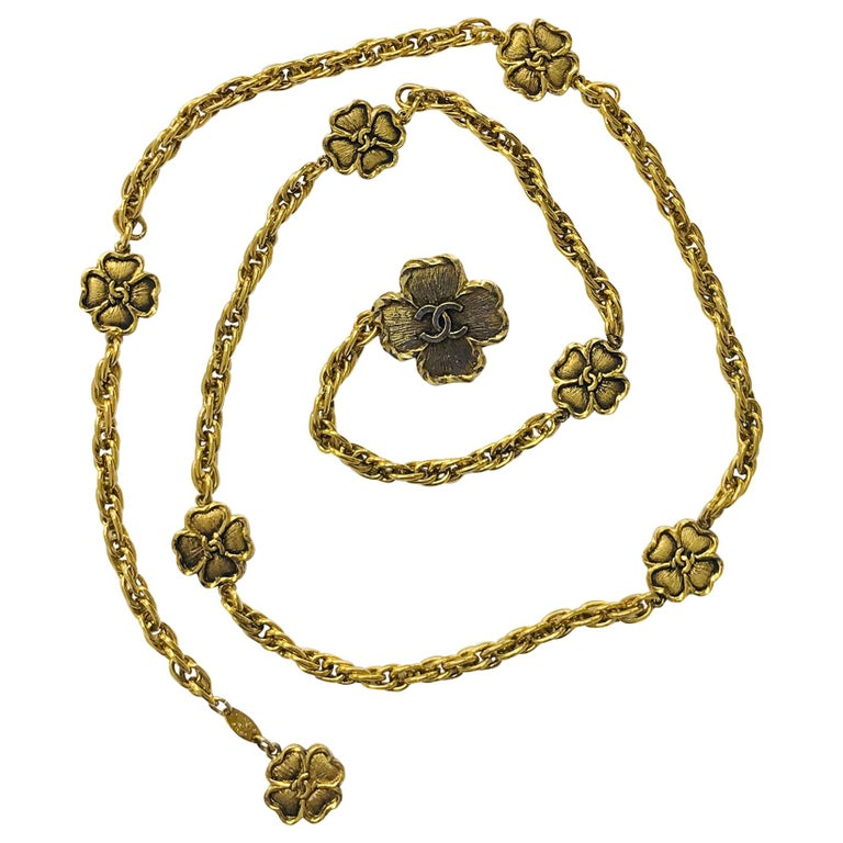 Chanel Eight Four Leaf Clover gold chain belt necklace 1988 For Sale