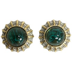 St John green stone rhinestone gold clip back earrings