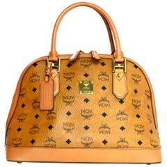 MCM Cognac Monogram Visetos Medium Heritage Bowler Domed Satchel Bag
