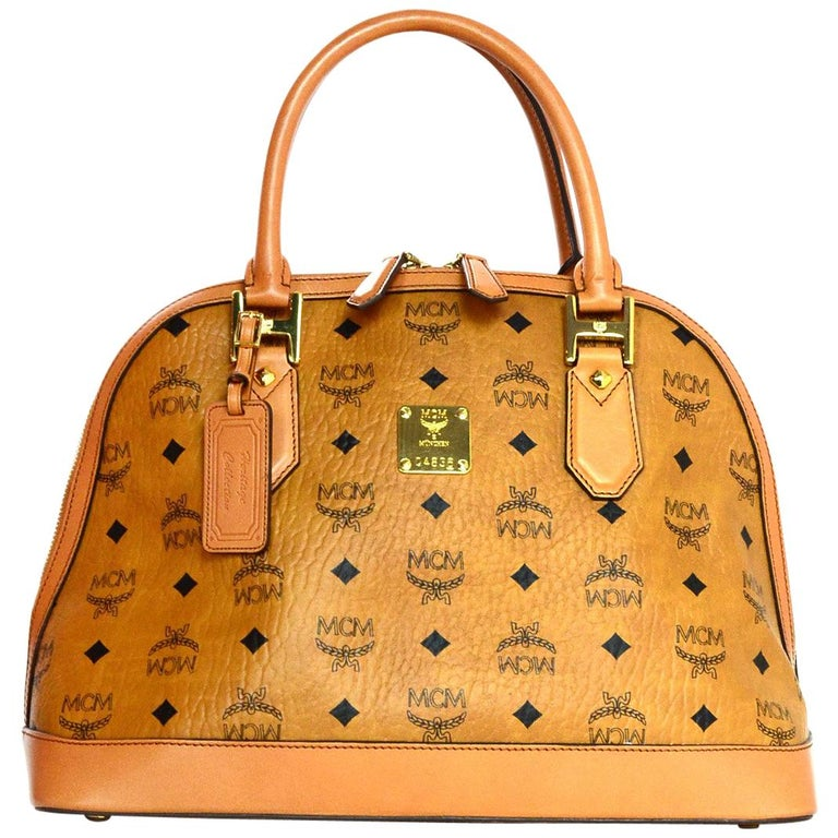 f9d6001b3318 MCM Cognac Monogram Visetos Medium Heritage Bowler Domed Satchel Bag For  Sale at 1stdibs