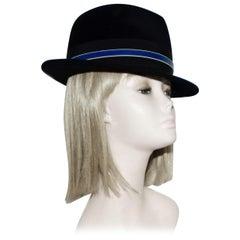 Brand New Philip Treacy Black Wool Felt Fedora Hat
