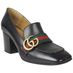 Gucci Black Leather Square Toe Chunky Heel - 36