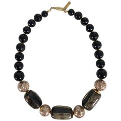Balenciaga mosaic inlaid shell bead with gold necklace