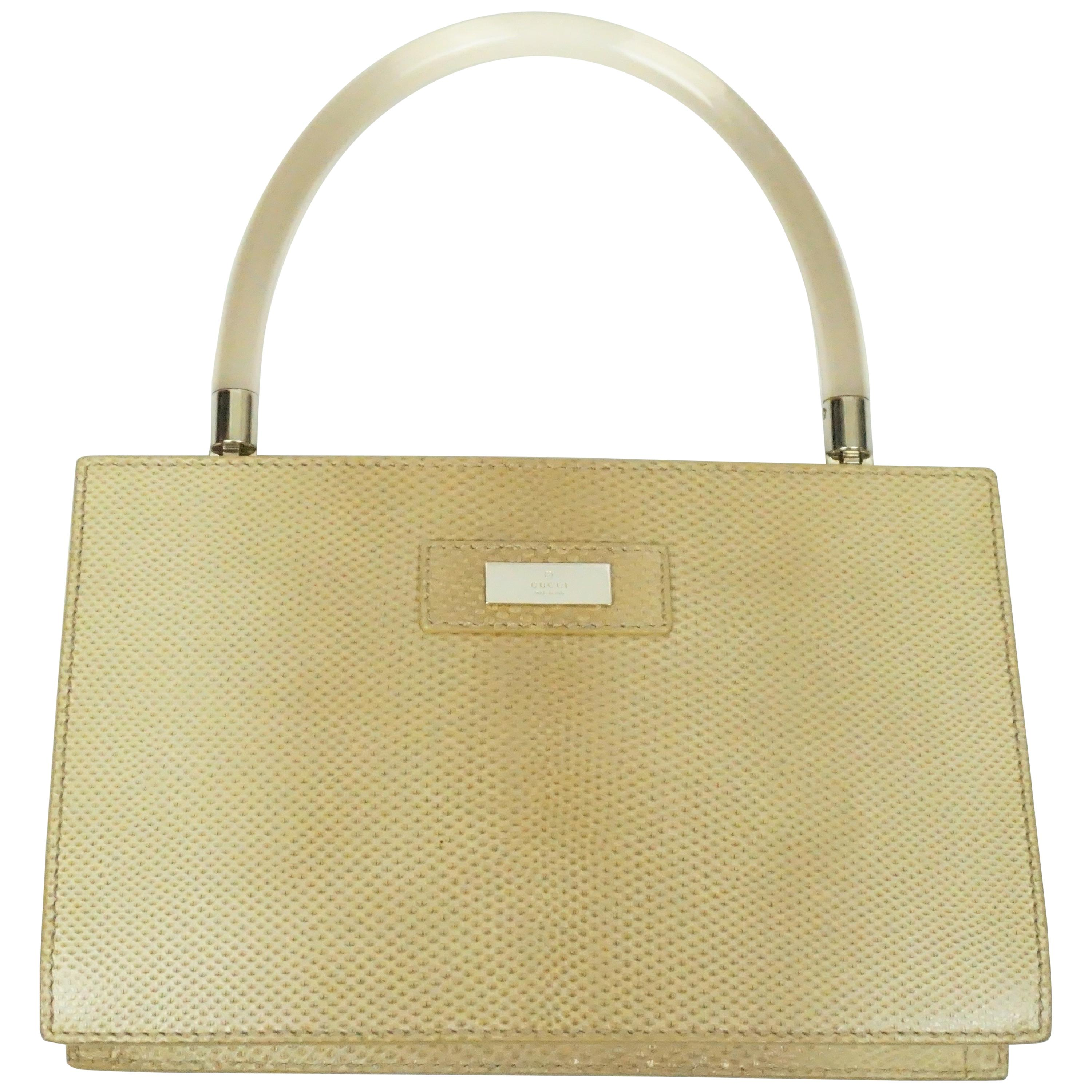 a0e57e94b6d4 Gucci Tan Lizard Purse w/ Plastic Handle at 1stdibs