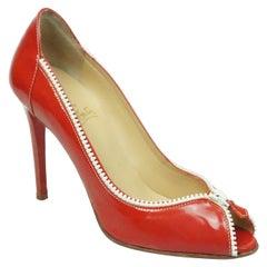 Christian Louboutin Red Patten Zipper Detail Heel - 40