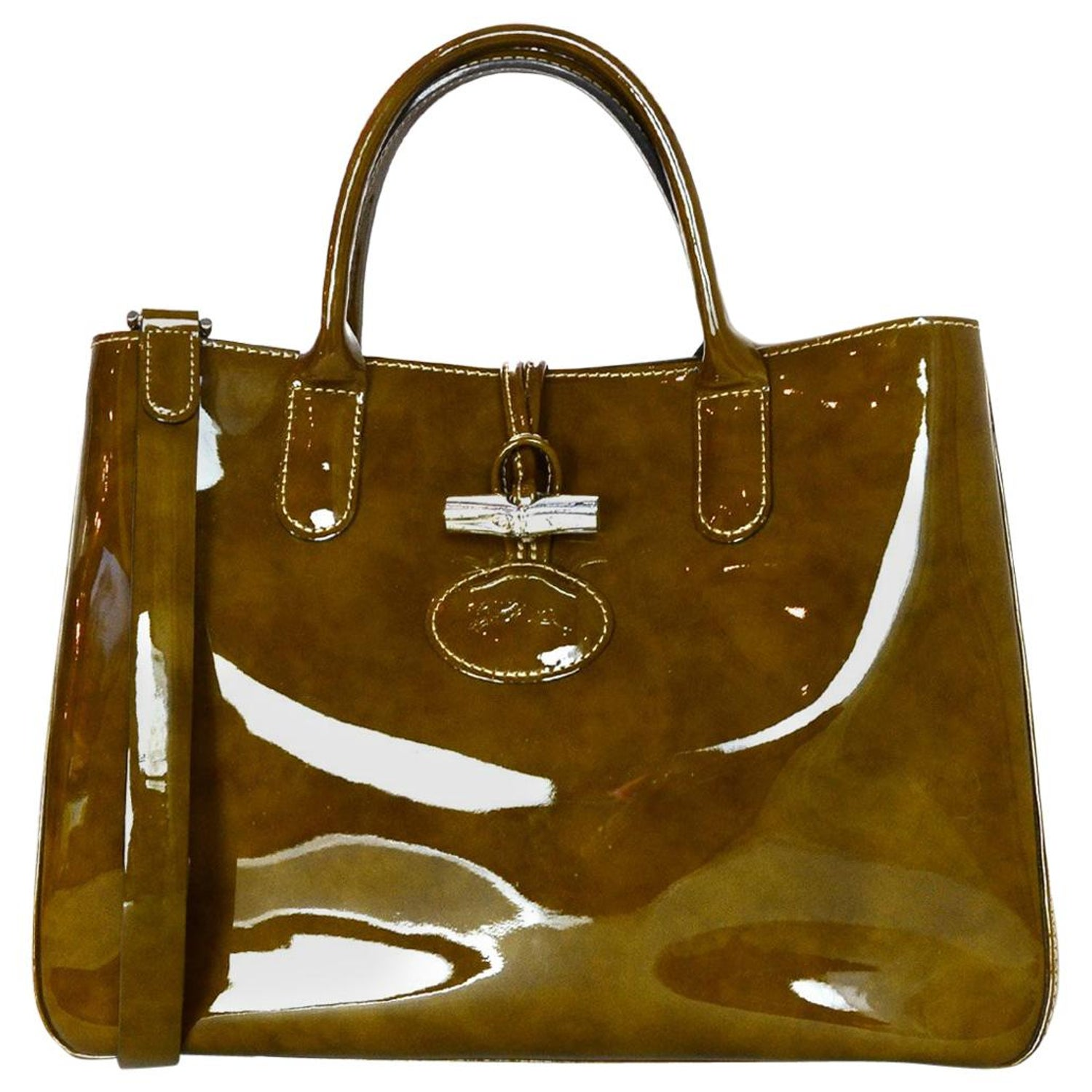 96f010c5802e Longchamp Brown Tortoise Patent Leather Medium Roseau Toggle Tote Bag W/  Strap For Sale at 1stdibs